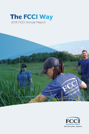 FCCI 2018 Annual Report cover - fcci volunteers working at a park