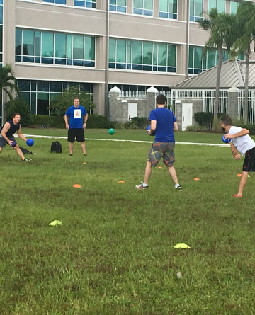 FCCI teammates play dodgebal to raise money for United Way during Fall Fest
