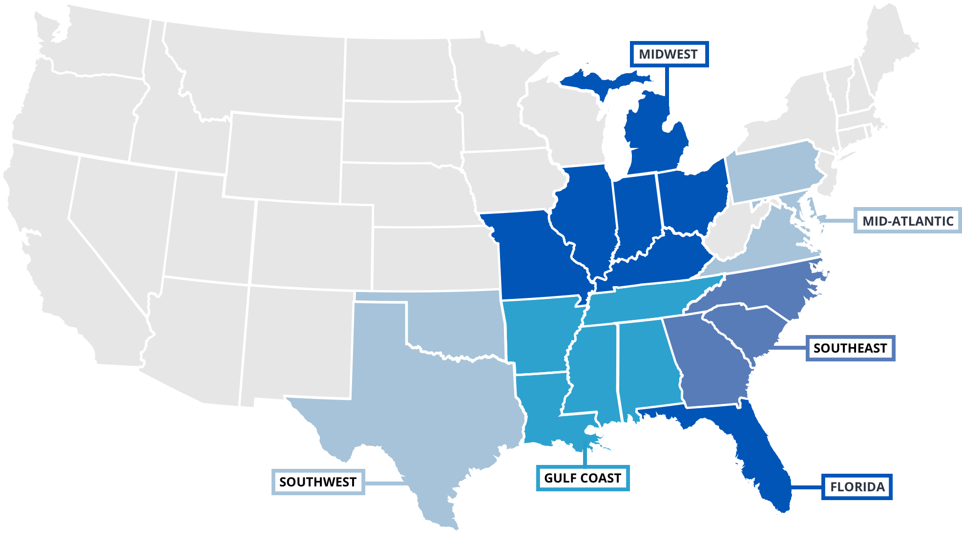 map showing states FCCI covers